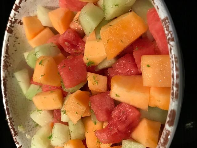 Tricolor Melon Salad (serves 4 )
