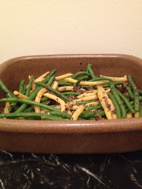 Green and Yellow Waxed Beans Tossed with Olive 'Pesto' (serves 4)