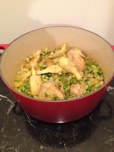 Chicken Thighs with Artichokes, Edamame Beans and Peas (serves 4)