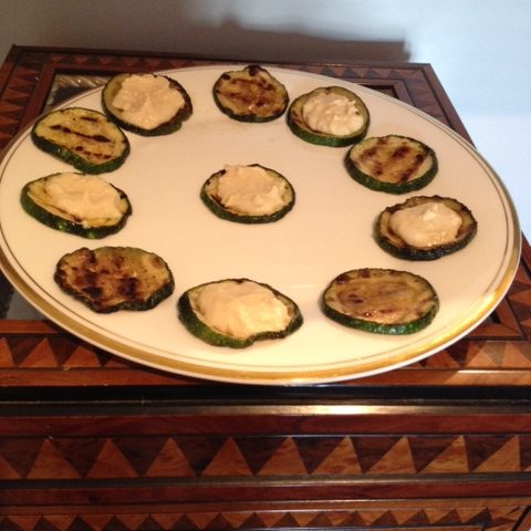 Grilled Zucchini (Courgettes) Topped with Hummus (serves 4)