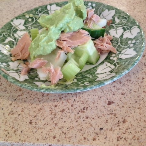 Tuna, Cucumber, Fennel and Celery Salad with an Avocado Dressing (serves 4)