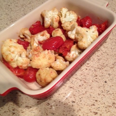 Roasted Cauliflower and Tomatoes Tossed in Mustard Oil (serves 4)