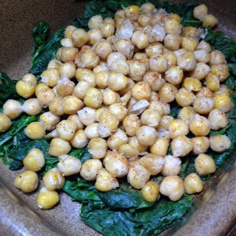 Fried Chickpeas on Bed of Spinach (2)