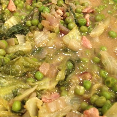 Braised Lettuce, Peas and Bacon (4)