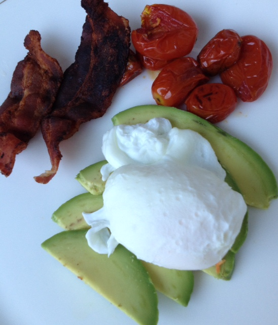 Poached Eggs with Avocado, Tomatoes and Bacon