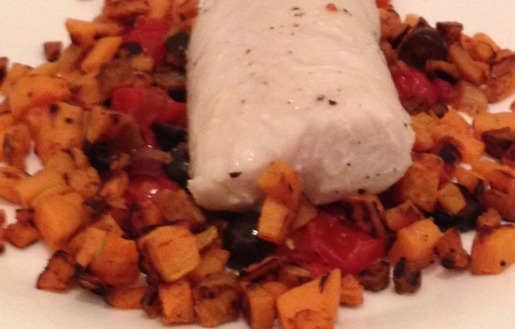 Cod on a Bed of Roasted Tomatoes, Red Peppers and Olives with Sweet Potato (4)