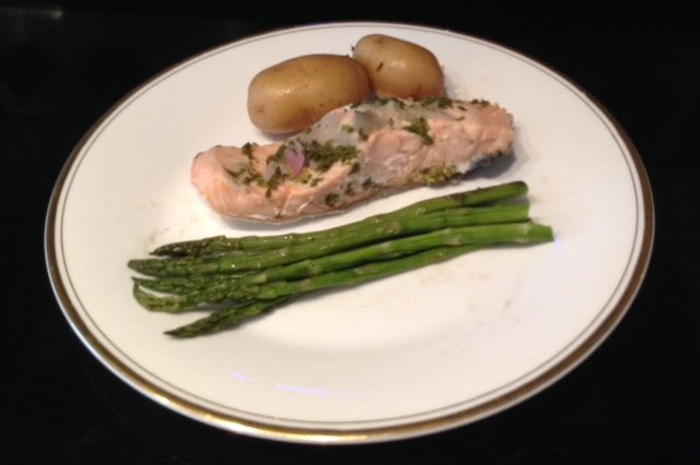 Salmon Poached with Garlic, Shallot, Lemon, Parsley and White Wine (4)
