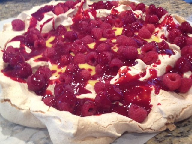 Lemon Curd and Raspberry Pavlova with Raspberry Puree (6 – 8)