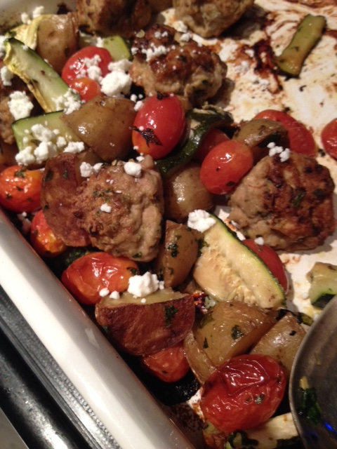 Turkey Meatballs on Top of Potatoes, Tomatoes and Zucchini with a little Goat's Cheese (4)