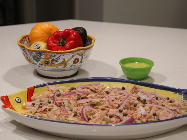 Tuna and Cannellini Bean Salad with Red Onion and Caper Garnish (4)