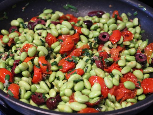 Edamame Beans with Roasted Tomatoes, Olives and Anchovies (4)