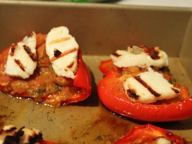 Red Peppers Stuffed with a Tomato Mixture and Topped with Griddled Halloumi Cheese (4)