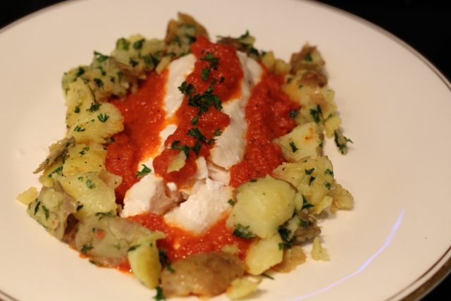 Haddock with a Tomato-Red Pepper Sauce and Parslied Potatoes (4)