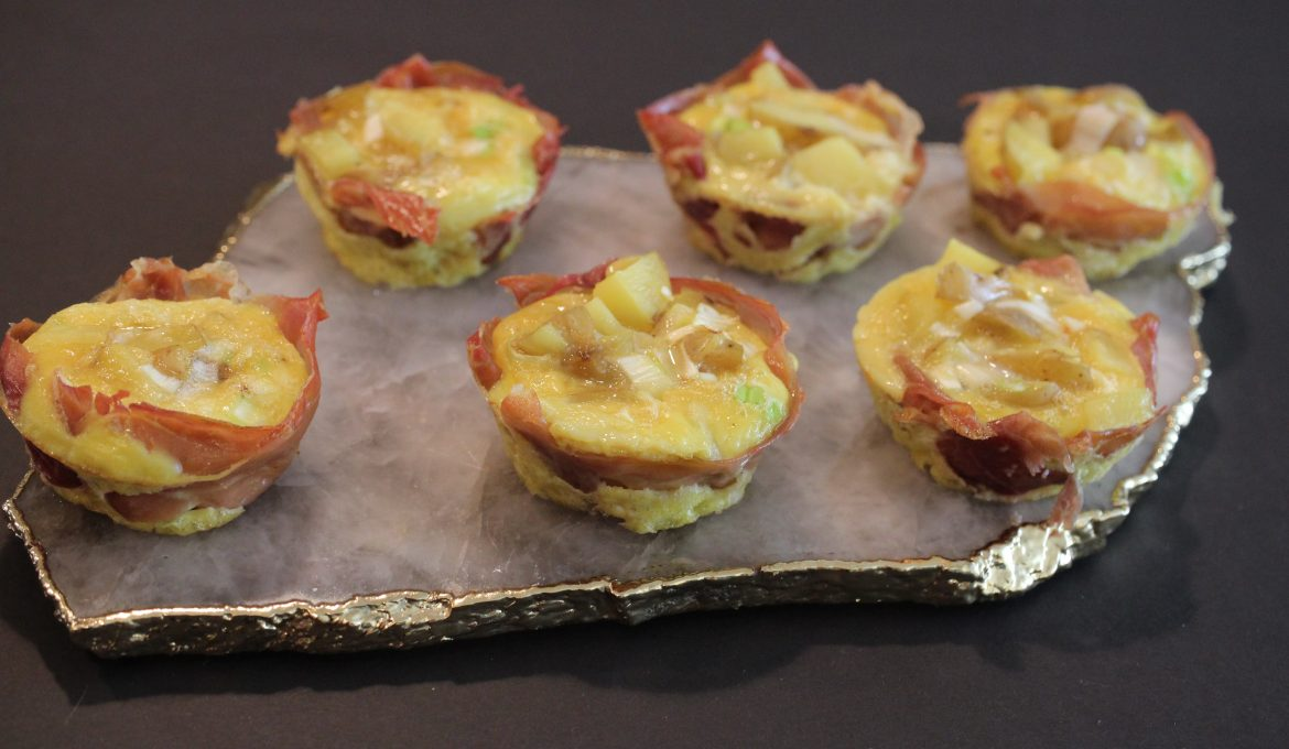 Spanish Omelette Muffins Wrapped in Prosciutto (makes 6)