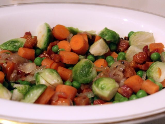 Carrots, Peas and Brussels Sprouts with Pancetta (4)