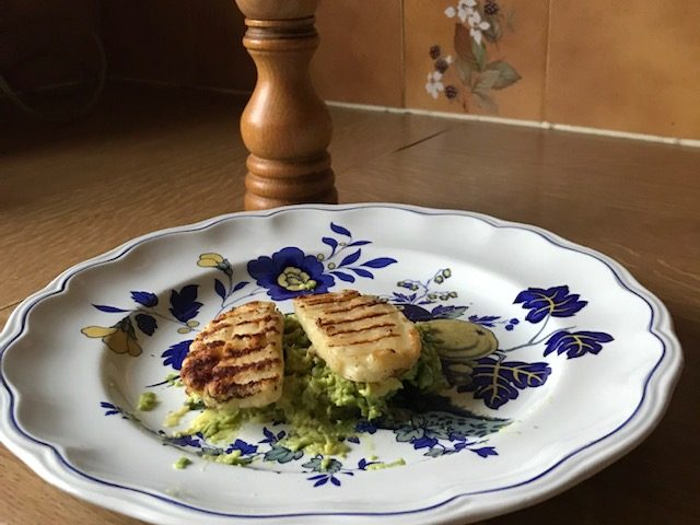 Mashed Avocado Topped with Grilled Halloumi
