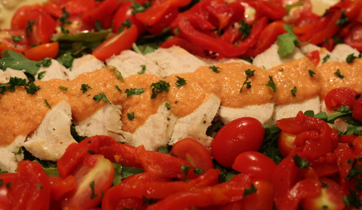 Chicken, Tomato and Red Pepper Salad with a Tomato Dressing (4)