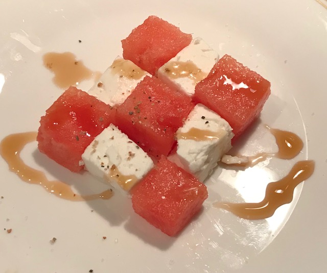 Watermelon and Feta Salad with a Drizzle of Balsamic Reduction (per person)