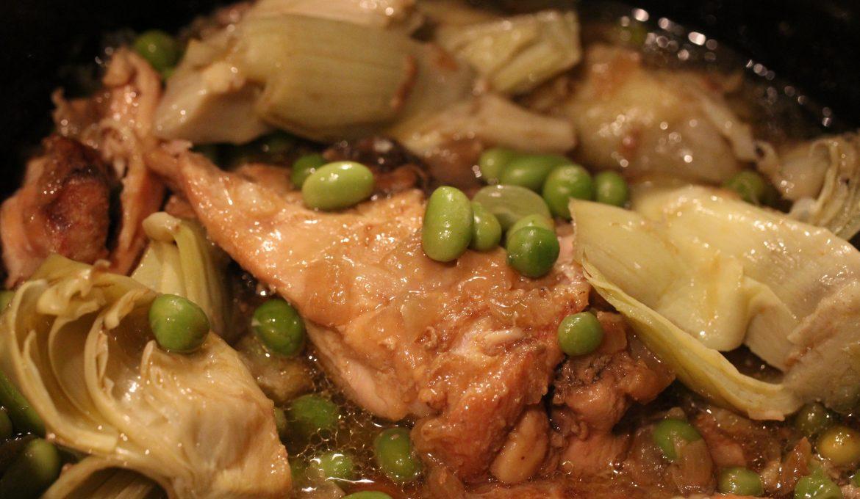 Chicken, Artichoke, Pea and Edamame Bean Casserole (serves 4)