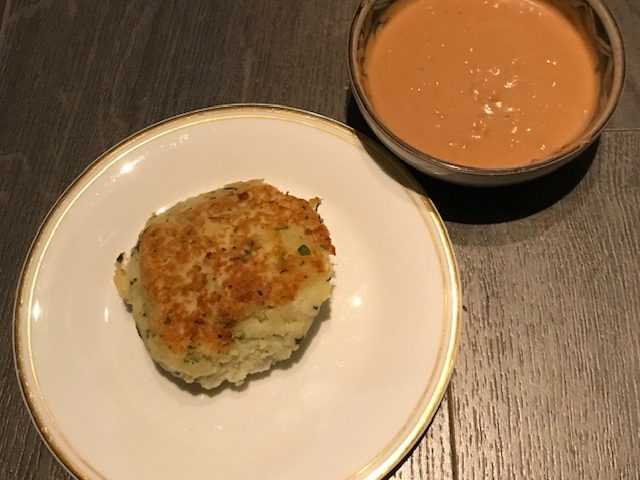 Thai-inspired Fish cakes with a Peanut Sauce (makes 8 fishcakes)