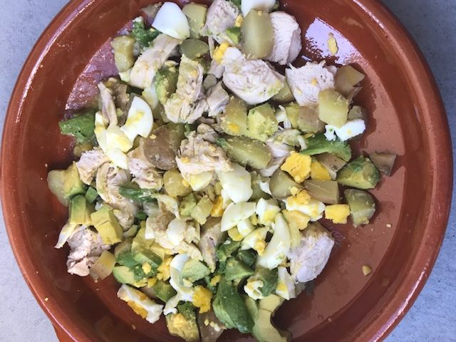 Chicken, Avocado, Egg and Potato Salad (serves 4 for a light lunch)