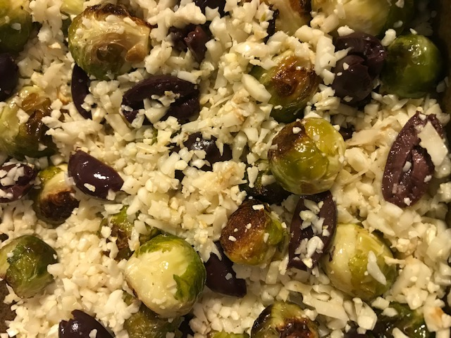 Cauliflower Rice, Roasted Brussels Sprouts and Olives (serves 4)