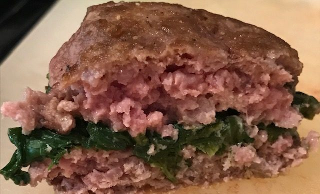 Lamb Patties Stuffed with Spinach and Goat's Cheese (serves 4)