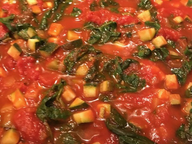 Zucchini, Tomatoes and Spinach (serves 4)