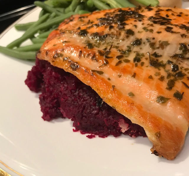 Pan Fried Salmon on a bed of Horseradish Beetroot (serves 4)