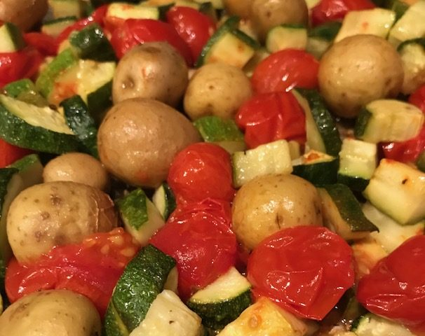 Zucchini, Tomatoes and New Potatoes (serves 4)