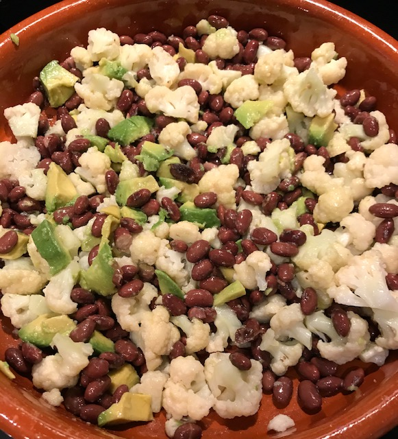 Cauliflower, Black Bean and Avocado Salad (serves 4)