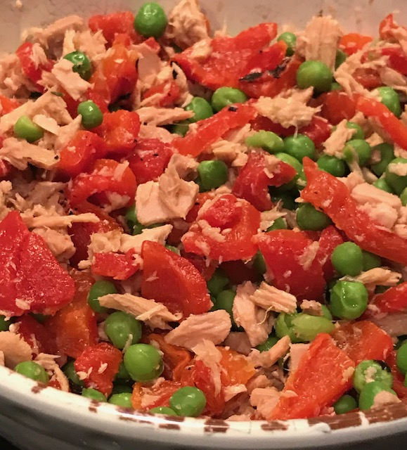 Lemony Tuna with Roasted Red Peppers and Peas (serves 2 – 4)