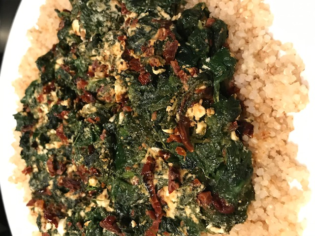 Spinach, Sun Dried Tomatoes and Feta over Quinoa (serves 4)