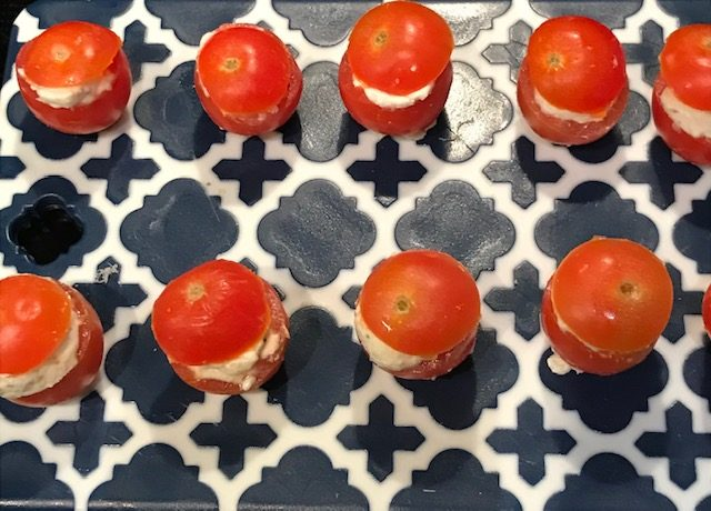 Baby Tomatoes with a Herbed Goat's Cheese Filling (allow about 4 per person)