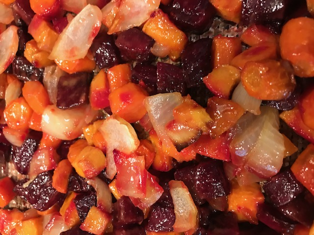 Roasted Root Vegetables with a Honey Mustard Sauce (serves 4)
