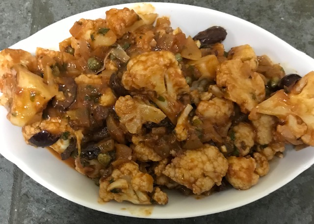 Cauliflower with a Tomato Olive Sauce and a Hint of Harissa (serves 4)