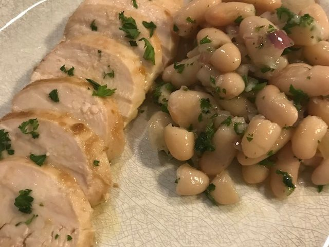 Lemon Chicken with a Cannellini Bean Salad (serves 4)