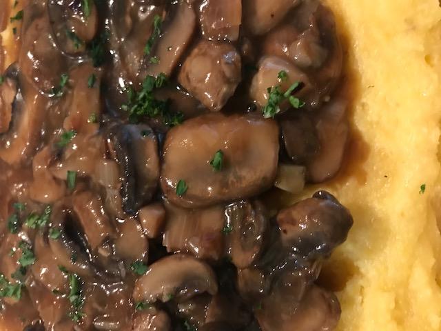 Polenta topped with a Mushroom Sauce (serves 4)