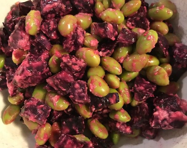 Beetroot and Edamame Beans with Horseradish Dressing (serves 4)