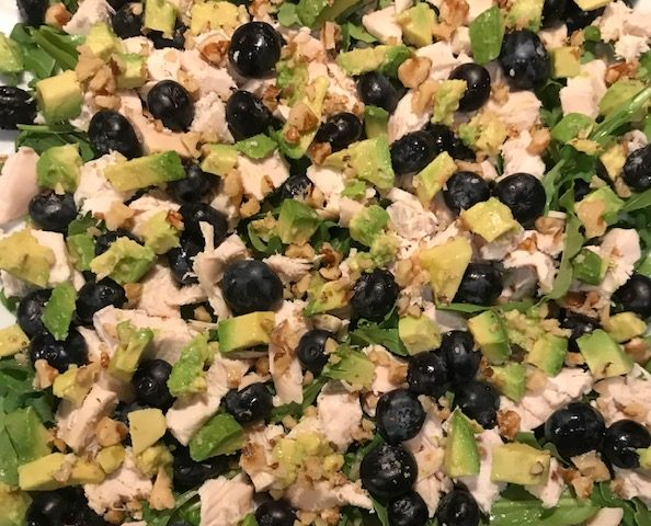 Chicken, Blueberry and Avocado Salad with a Sprinkling of Walnuts (serves 4)