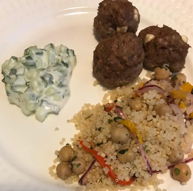 Greek Meatballs with Lactose Free Tzatziki (serves 4 people)