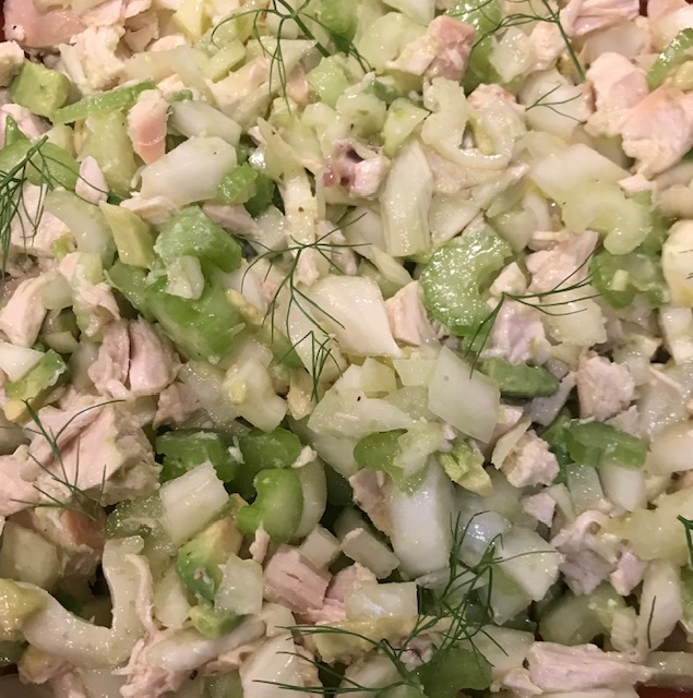 Chicken, Fennel, Celery and Avocado Salad with a Lemon Dressing (serves 4)
